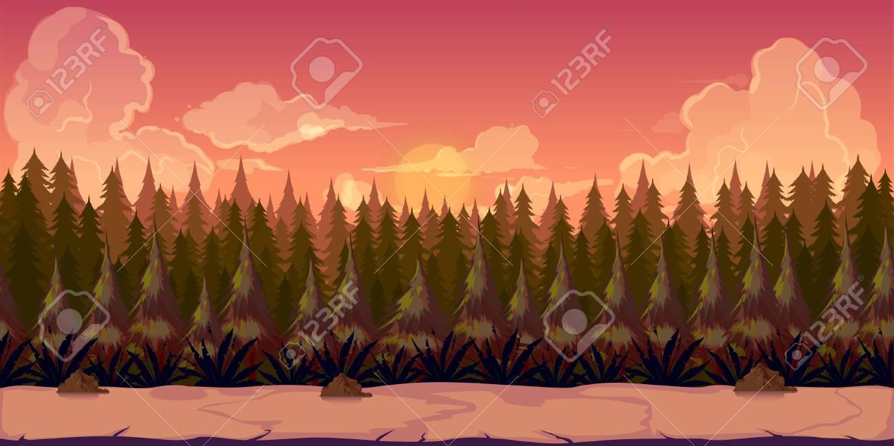 Fond Pour Les Applications De Jeux Ou Le Developpement Mobile Paysage Nature De Dessin Anime Avec Foret Illustration Pour La Conception Graphique