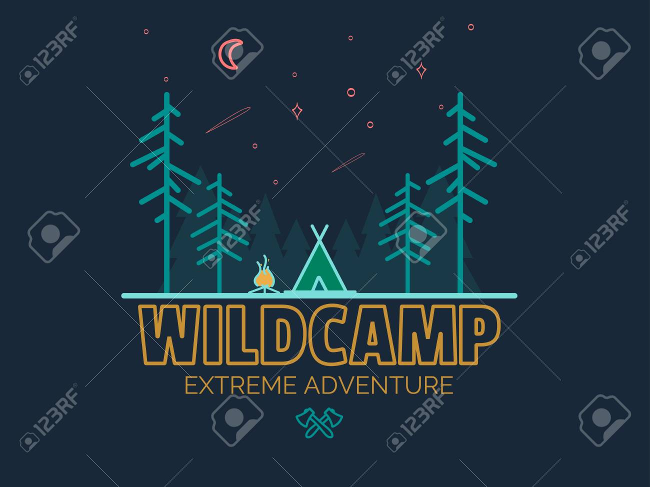 7f12b7d2 Vector illustration,Typographic Design. Stay Wild Camping Child ,Hand Drawn t  Shirt Print,camping and adventure forest badge