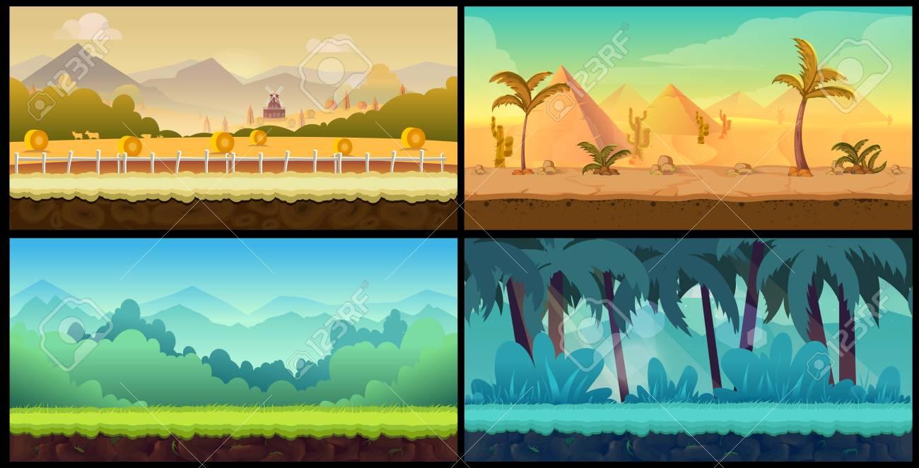 landscape cartoon backgrounds set for game,illustration for your