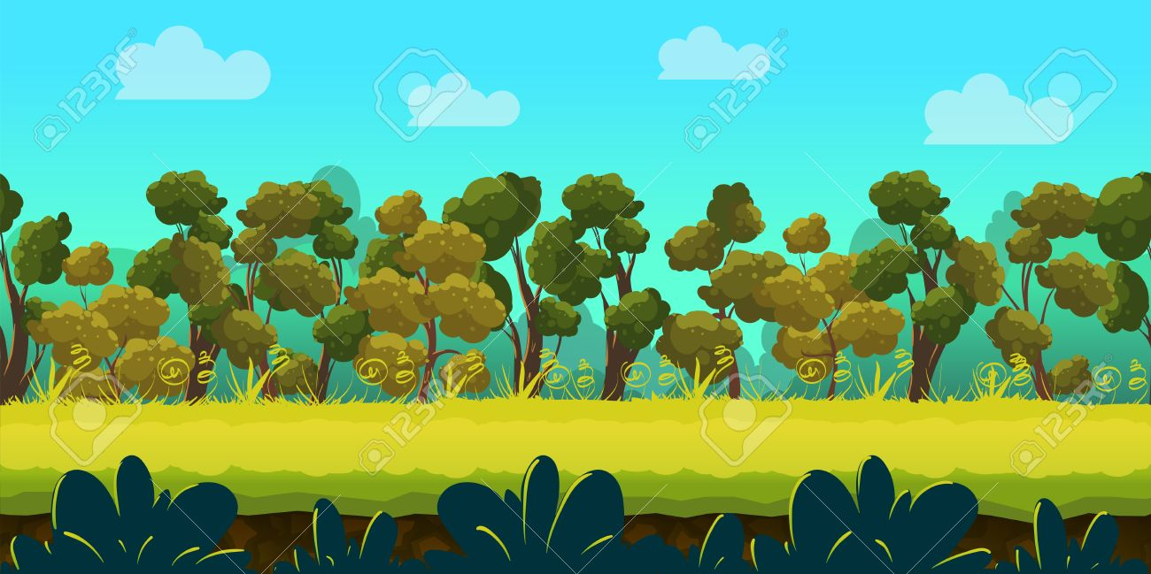Forest Game Background 2d Game Application Vector Design Tileable