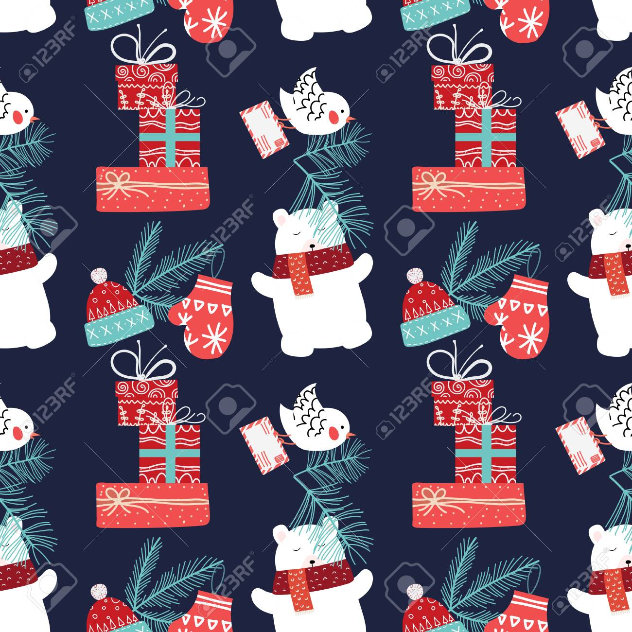 Cute Christmas and New Year seamless pattern with bear and gifts. - 127395534