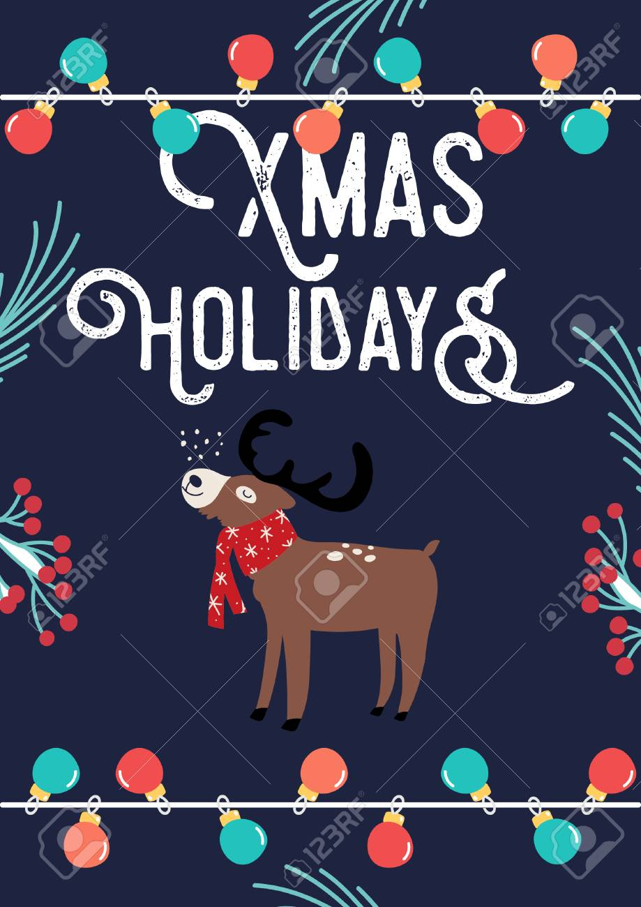 Christmas Card with Deer and lamps. Vector illustration - 127395535