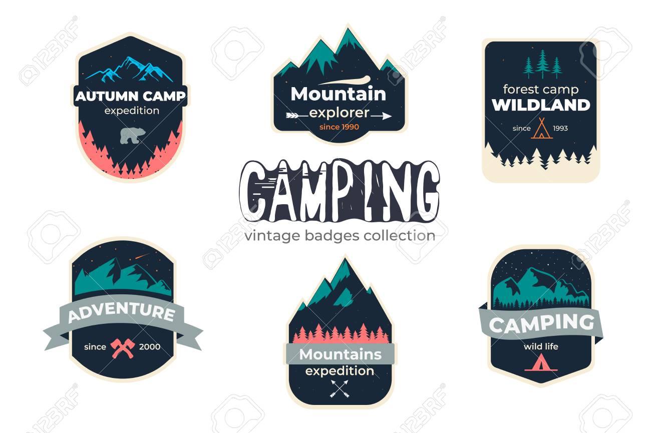 Set of camping outdoor adventure and mountain badge logo, emblem, label design - 115907047