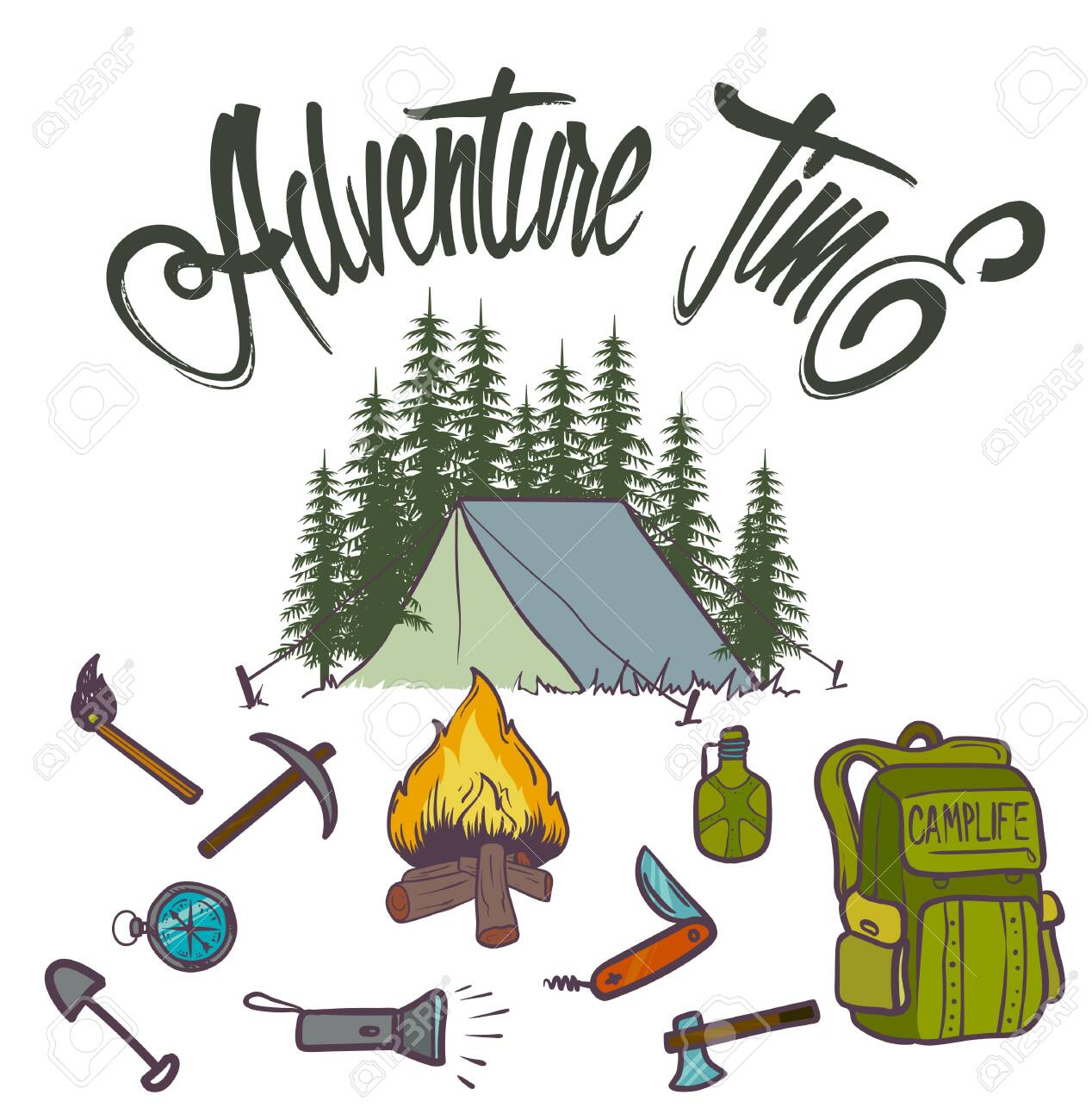 Hand drawn vector icon of orange camping flashlight. Tourist equipment. Graphic element in doodle style - 127956730