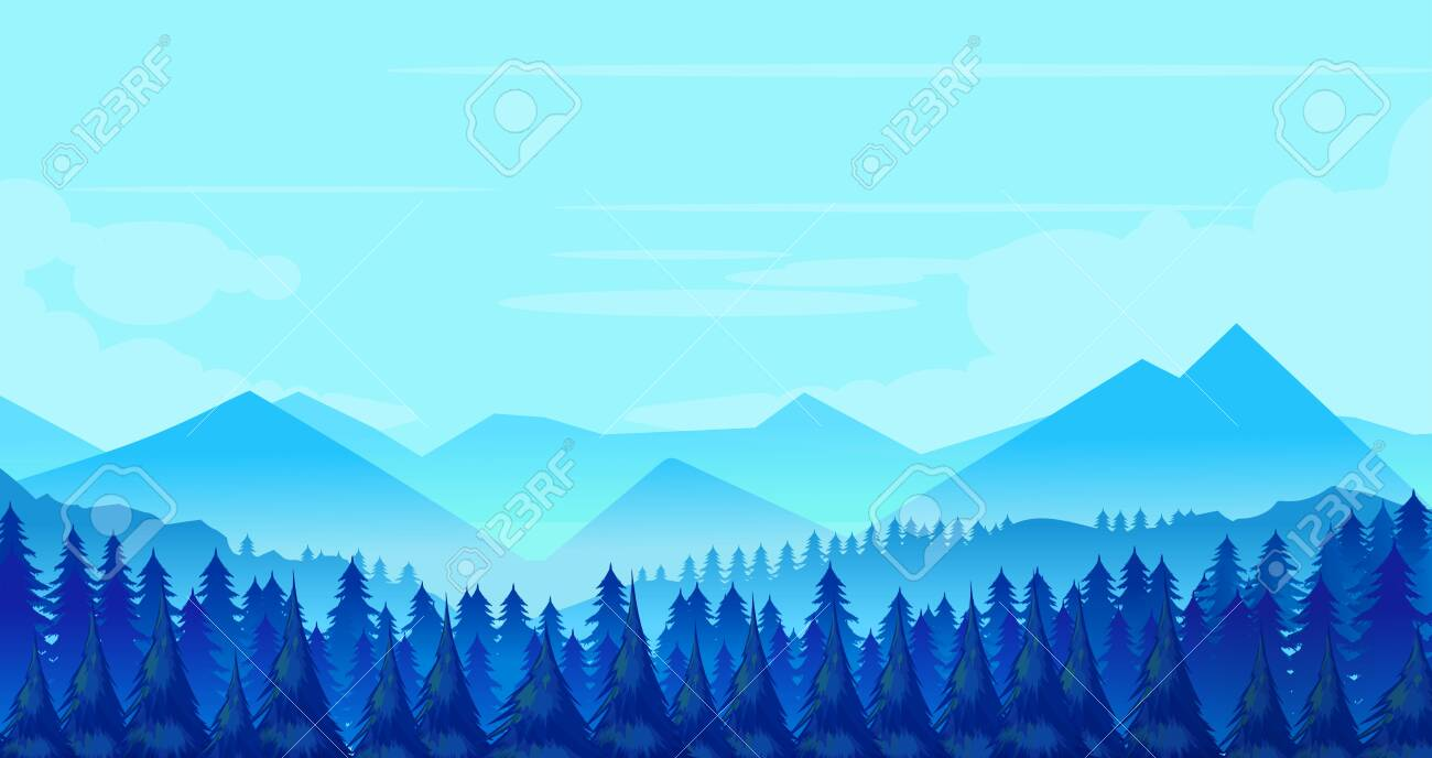 Winter Mountains landscape with pines and hills. Vector illustration - 124366849