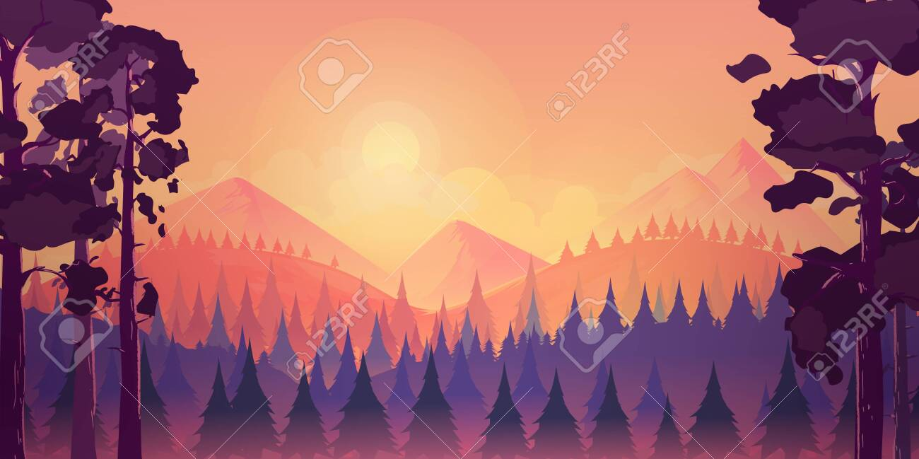 Sunset landscape with mountain and forest, vector illustration for you project. - 124366850