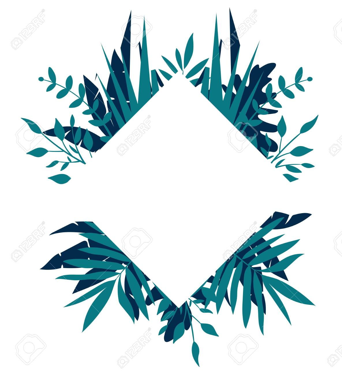 Rhombus tropical frame, template with place for text. Vector illustration, isolated on white background - 124366854