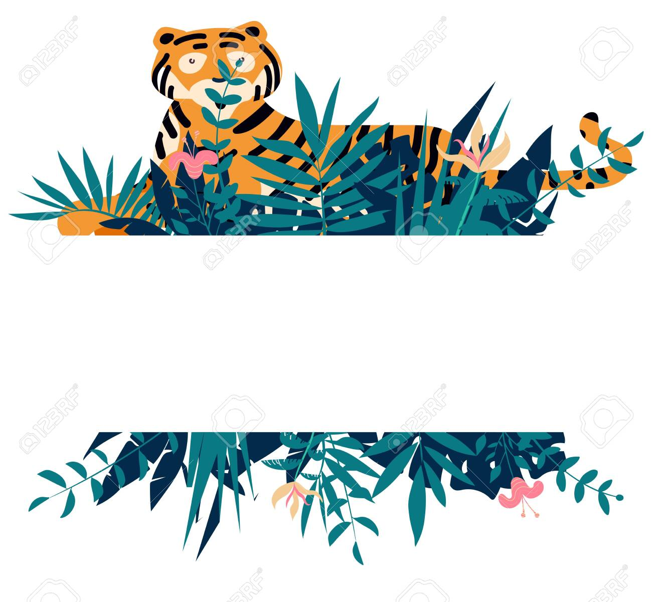 Summer frame with tropical jungle leaves, flowers and tiger.Vector illustration - 124366855