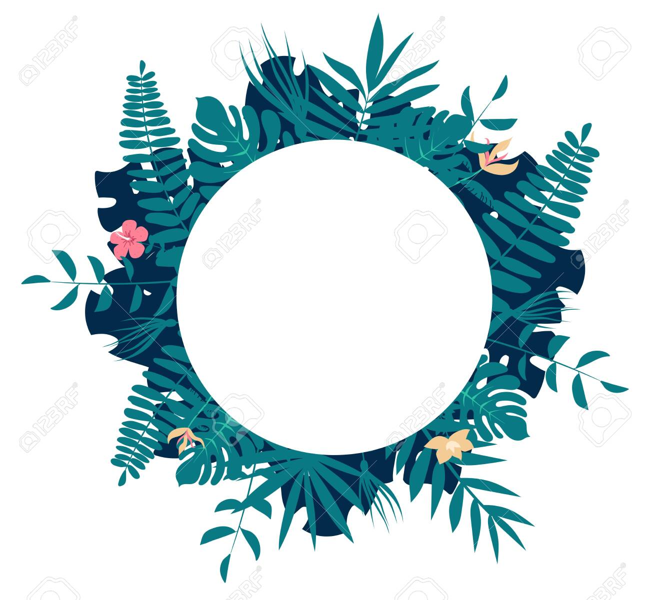 Palm tree leaves round frame. Tropical greeting card - 127956729