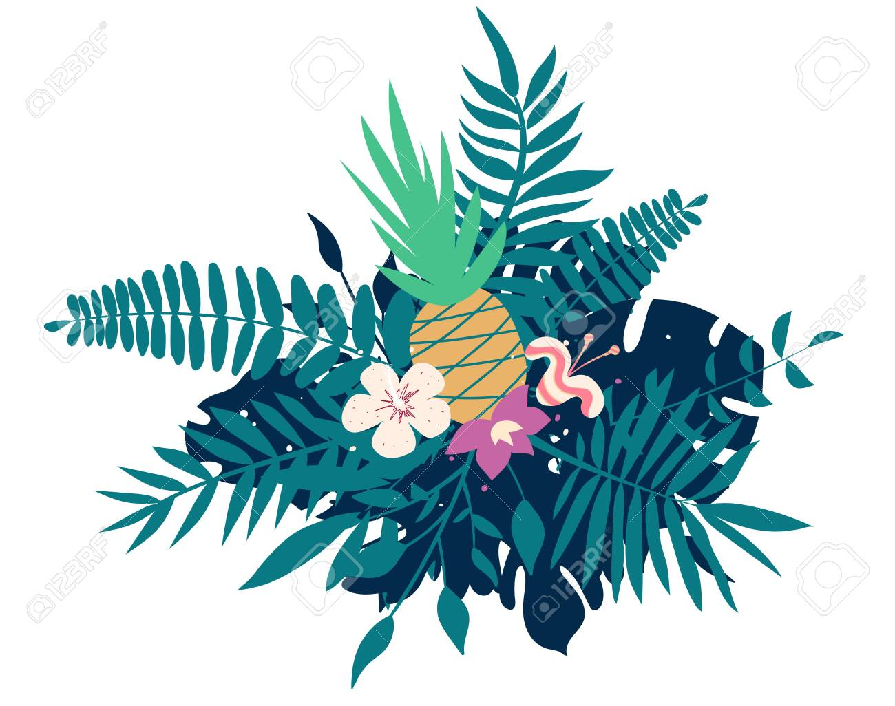 Pineapple, exotic flowers, palm leaves, jungle leaf, orchid, tropical art composition. Vector exotic illustration, decorative Hawaiian bouquet - 127956728