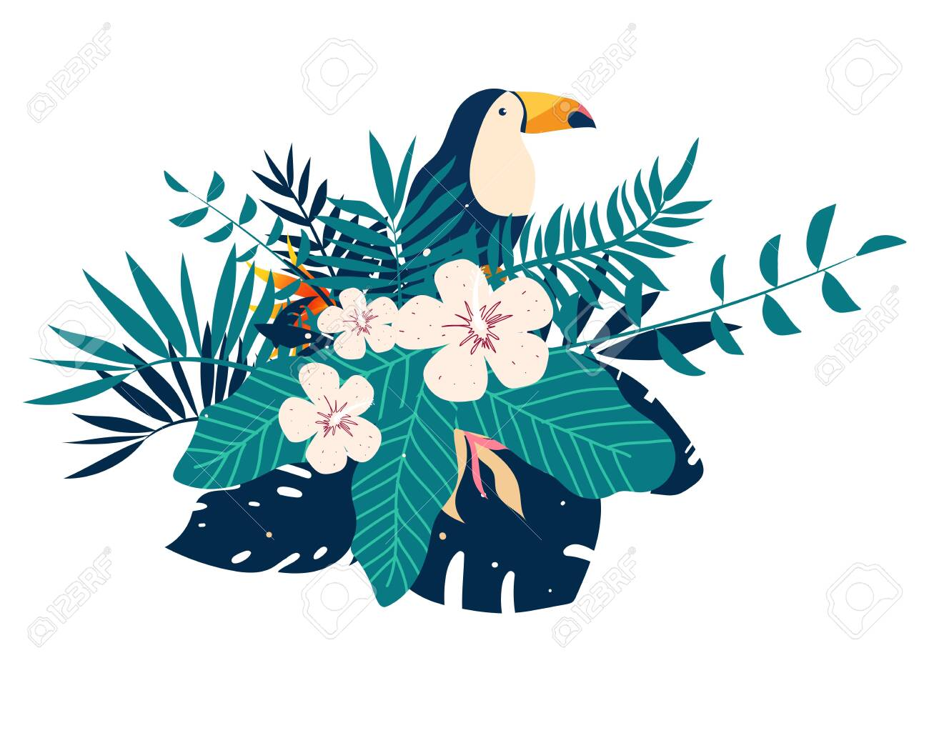 Toucan embroidery patches with tropical flowers and leaves, vector illustration - 124330723