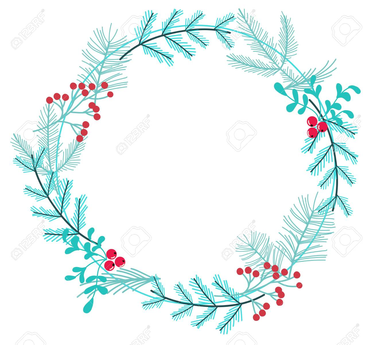 simple winter wreath made of branches and berries - 127956743