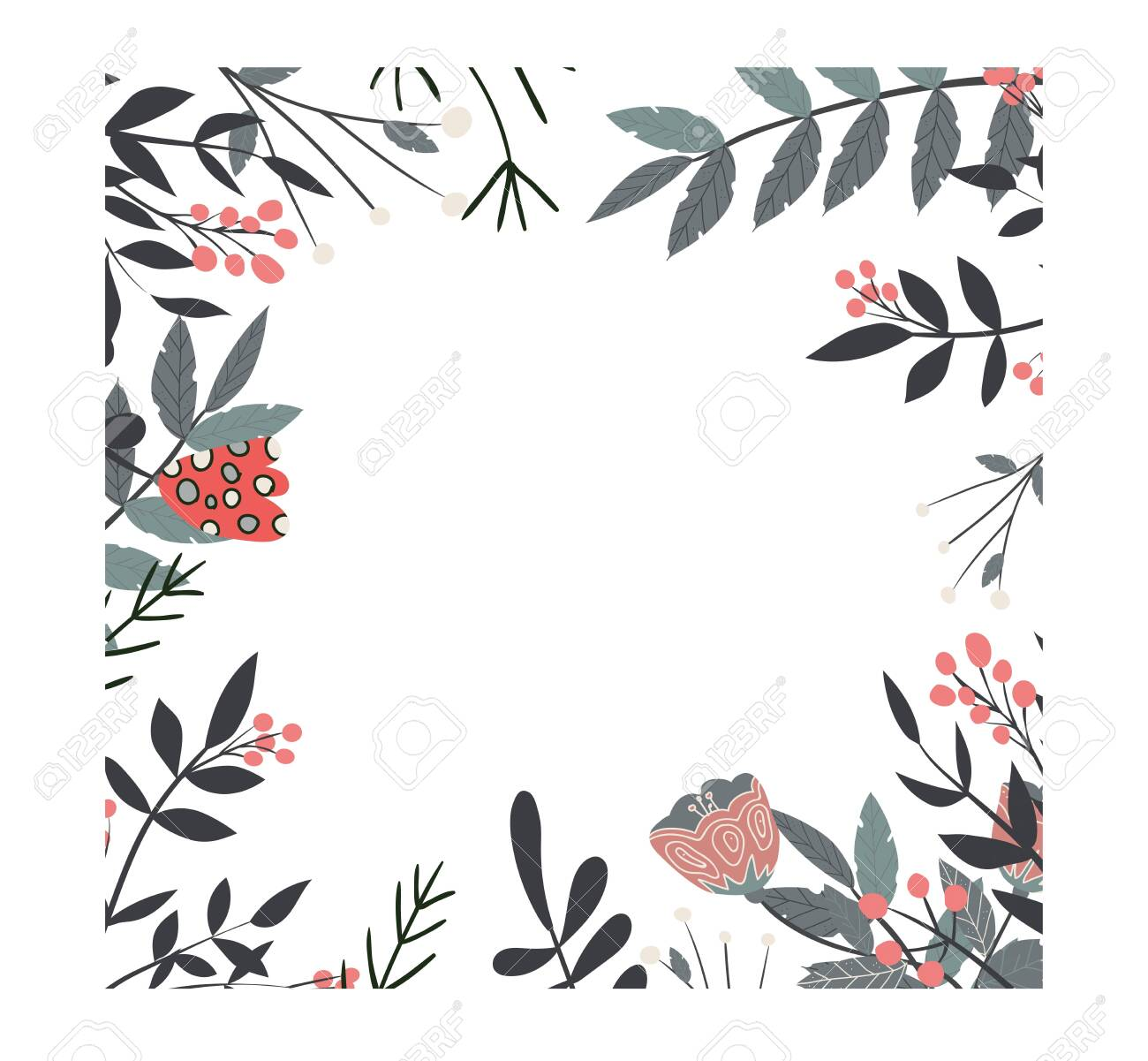 Decorative floral frame with twigs and flowers, vector illustration - 124265199