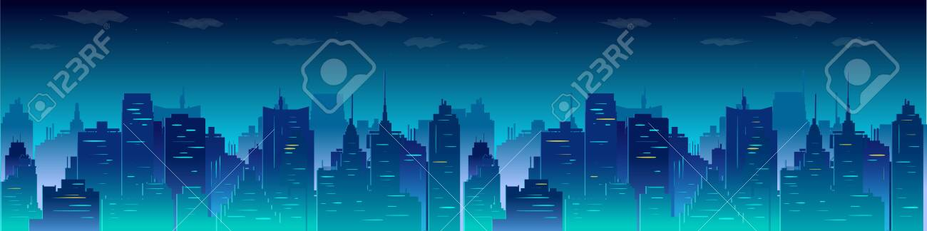 City night skyline, vector illustration for you project. - 124128102