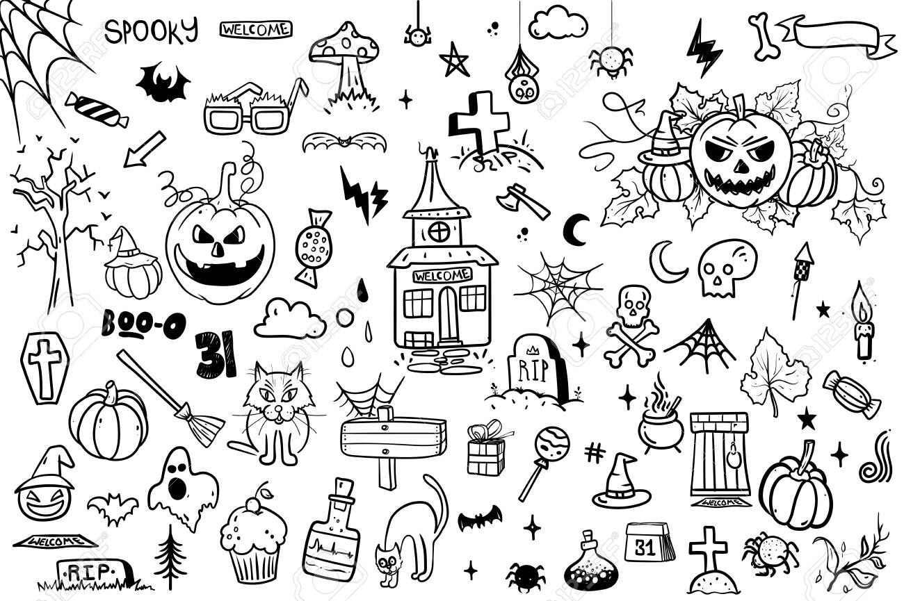 vector hand drawn Doodle cartoon collection set of icon and symbols about the Halloween day,isolated background. - 124072741