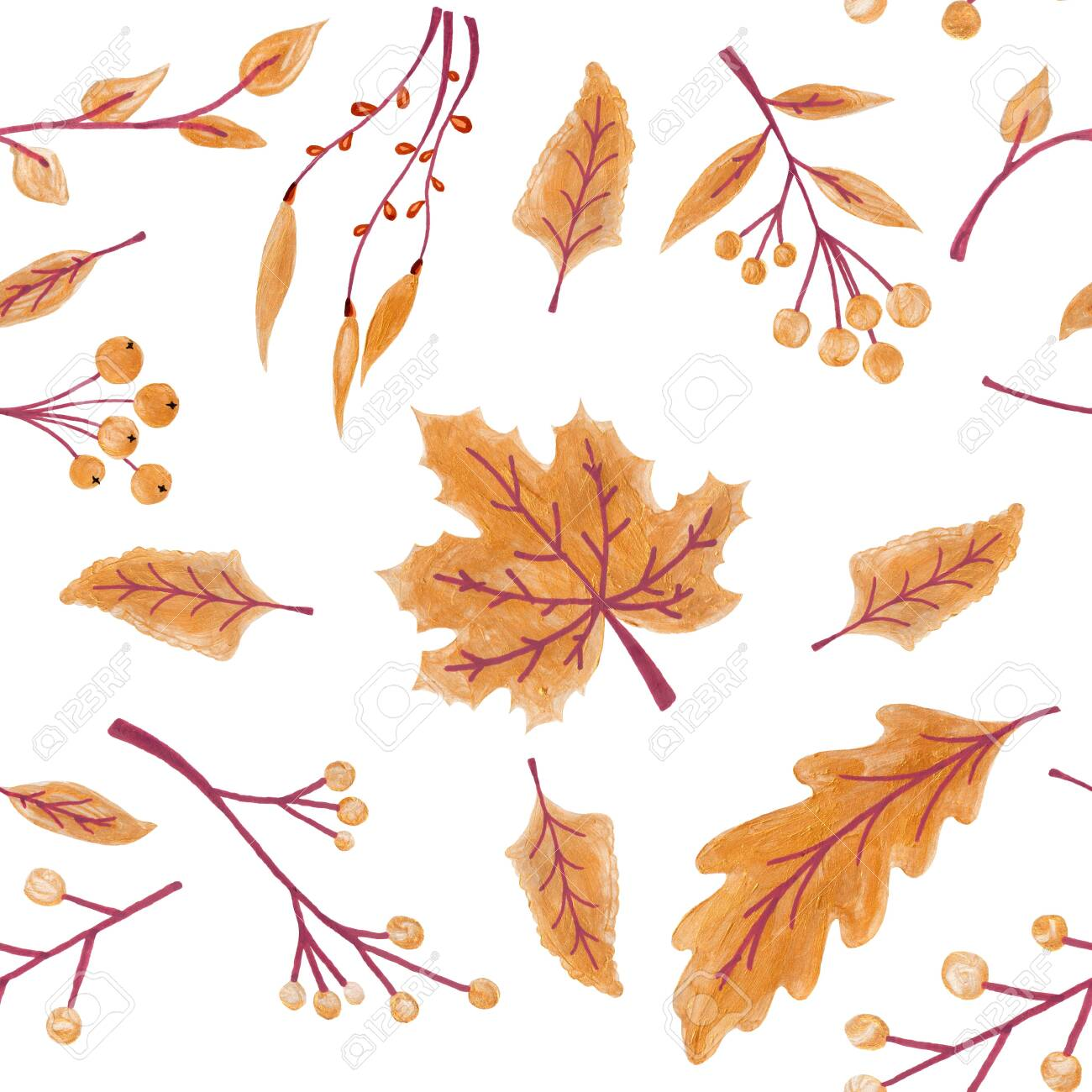 Fall leaves seamless pattern with gold glitter texture. illustration for stylish background, banner, textile, wrapping paper design. orange, yellow, golden colors. - 127956739