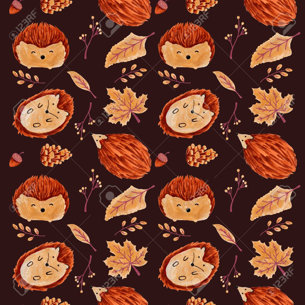 Seamless Autumn Pattern with Leaves and Hedgehog. - 127956741