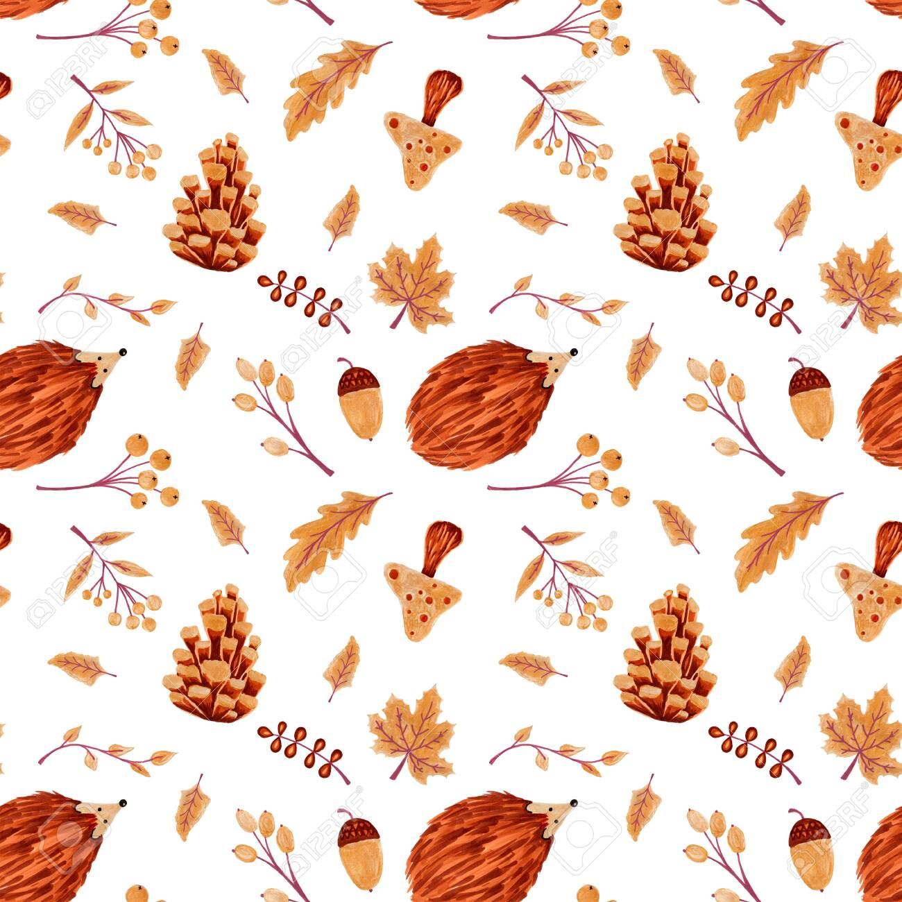 Seamless Autumn Pattern with Leaves and Hedgehog - 127956745