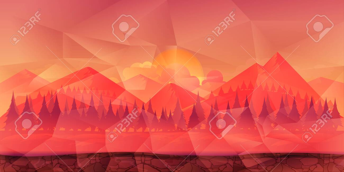 Mountains and forest polygonal background for game, wallpaper etc. - 128367682