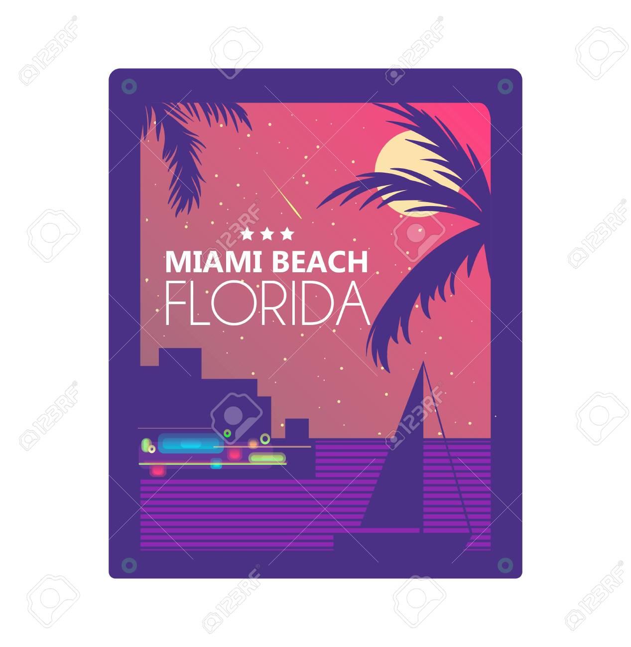 Miami summer concept vector graphic design for print - 128367685