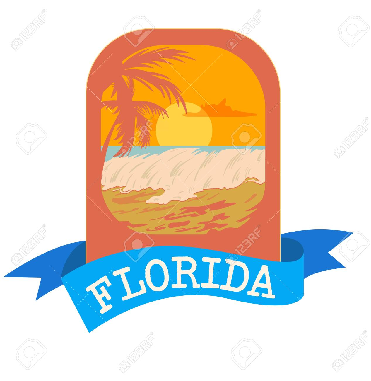 Surf Florida typography , tee shirt graphic emblem, vector illustration. - 128367693