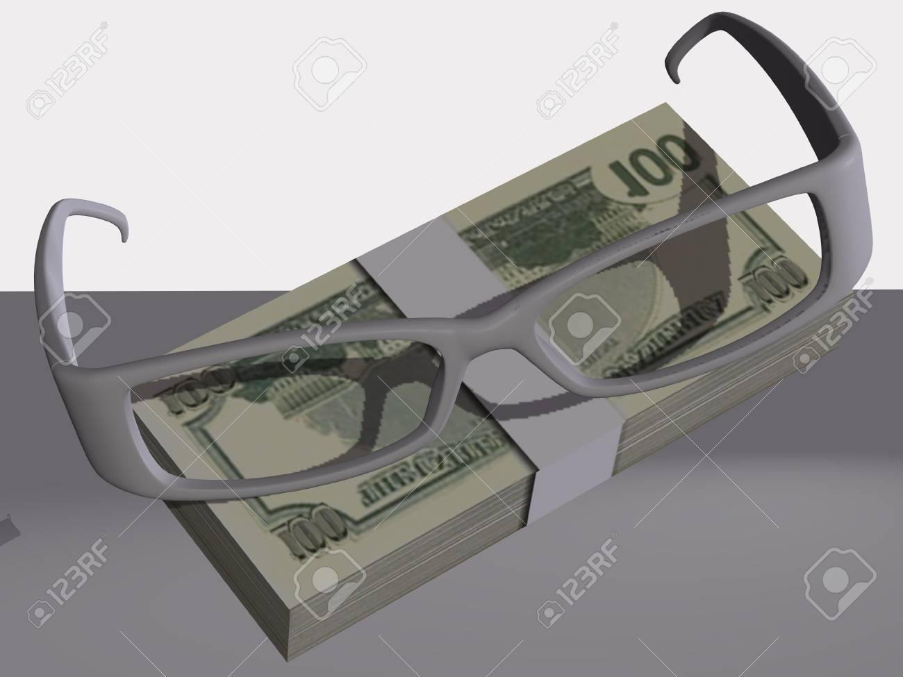 Money and optical eyeglasses on white background Stock Photo - 17510244