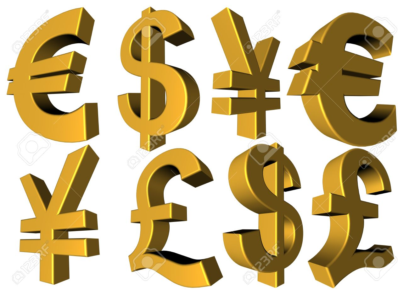 Main Trade Currency Symbols On A White Background From Different