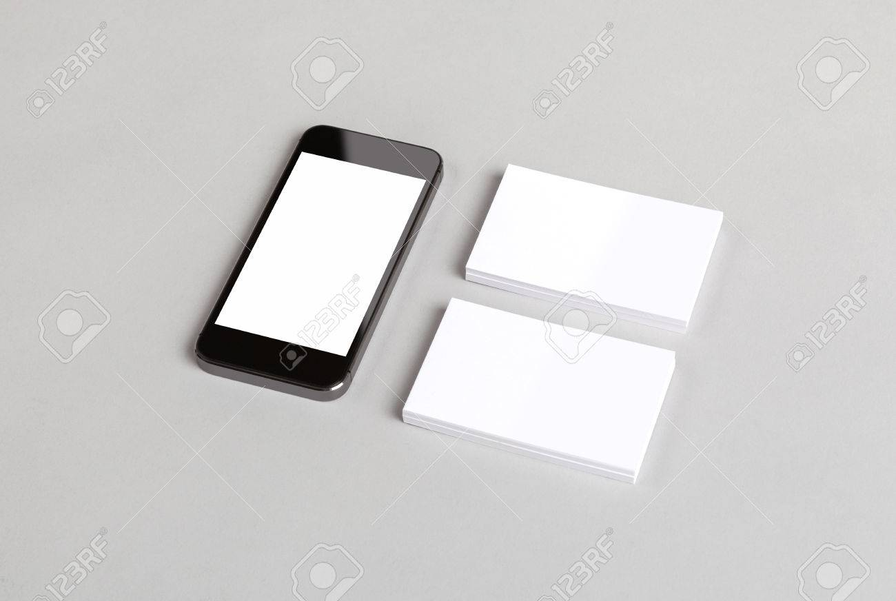 Photo Of Business Cards And Smartphone. Mock-up For Branding.. Stock ...