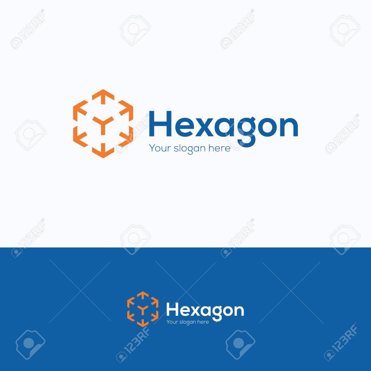 hexagon cube 3d sector group logo package box arrow geometrical