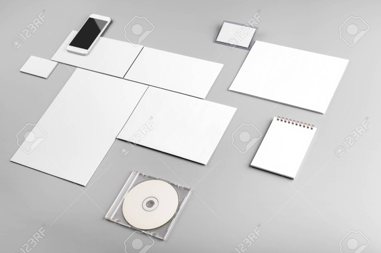 Photo. Template for branding identity. For graphic designers presentations and portfolios. Identity Mock-up isolated on gray and white background. Identity set mock-up. Photo mock up. - 131475040