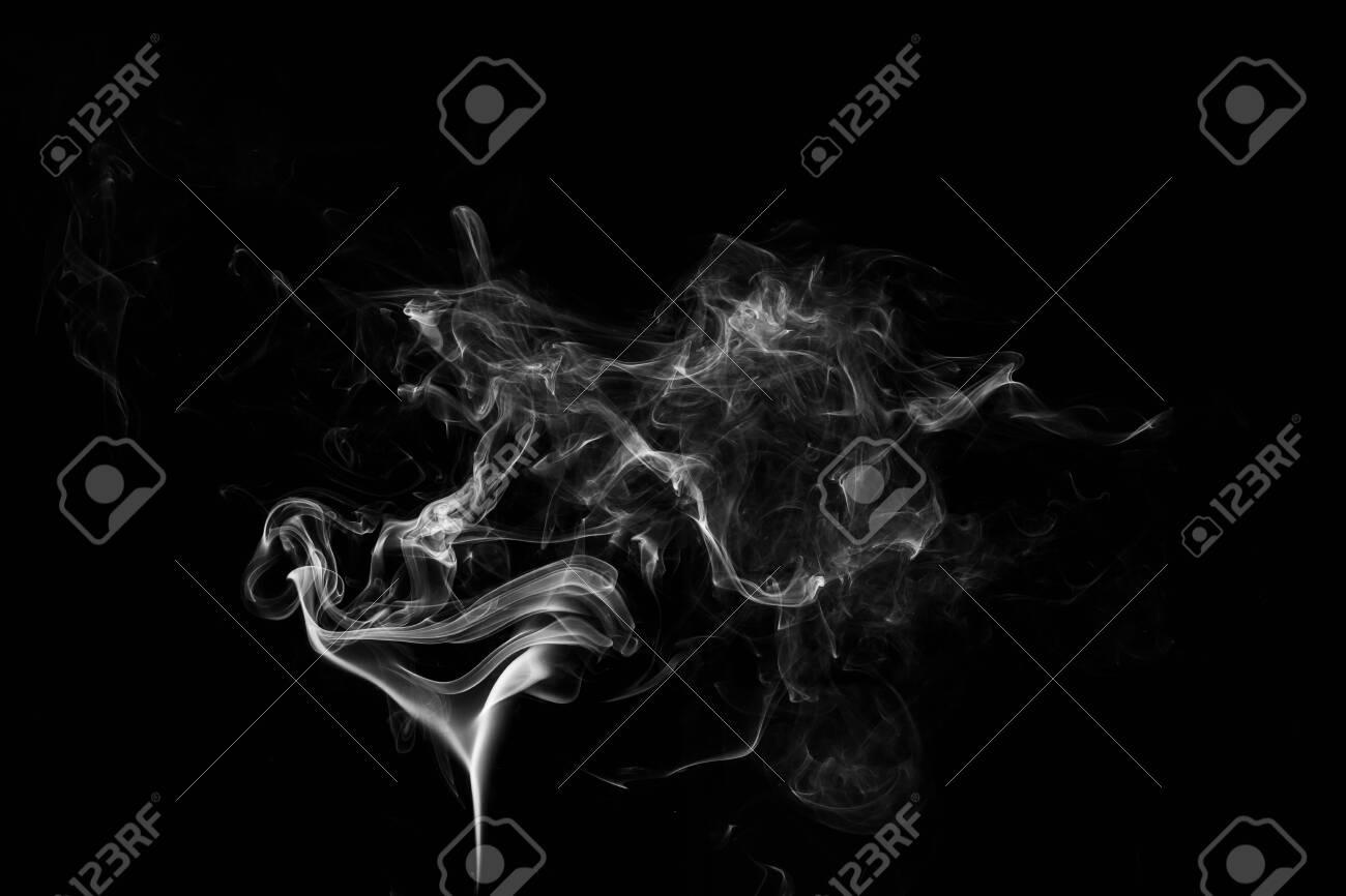 white smoke flame on a black background - 120566606