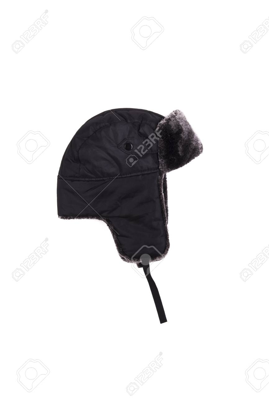 aaa85c031b4 winter hat ear flaps on the white background Stock Photo - 46337478