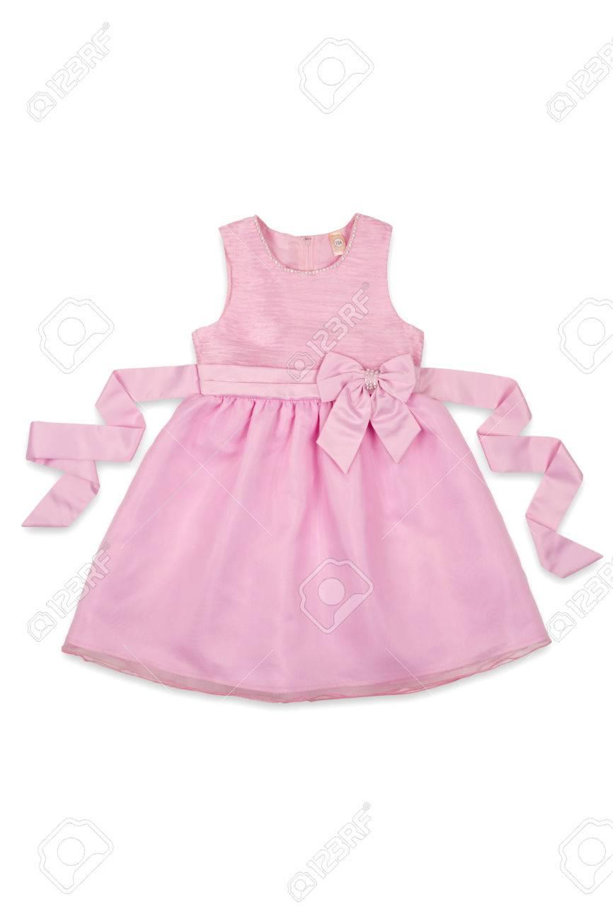 8b91e6d1f039 Pink Baby Dress With A Bow On A White Background Stock Photo ...