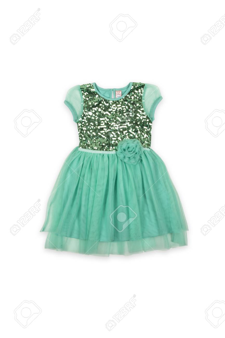 742cbee8a02b Green Baby Dress With Flower On A White Background Stock Photo ...