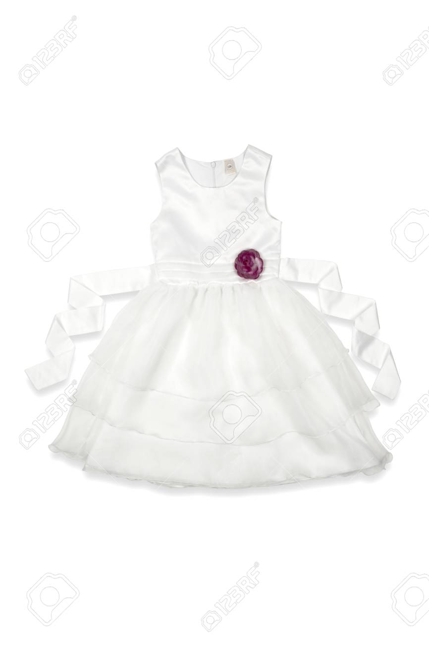 dc80c88bfa56 White Baby Dress With A Rose On A White Background Stock Photo ...