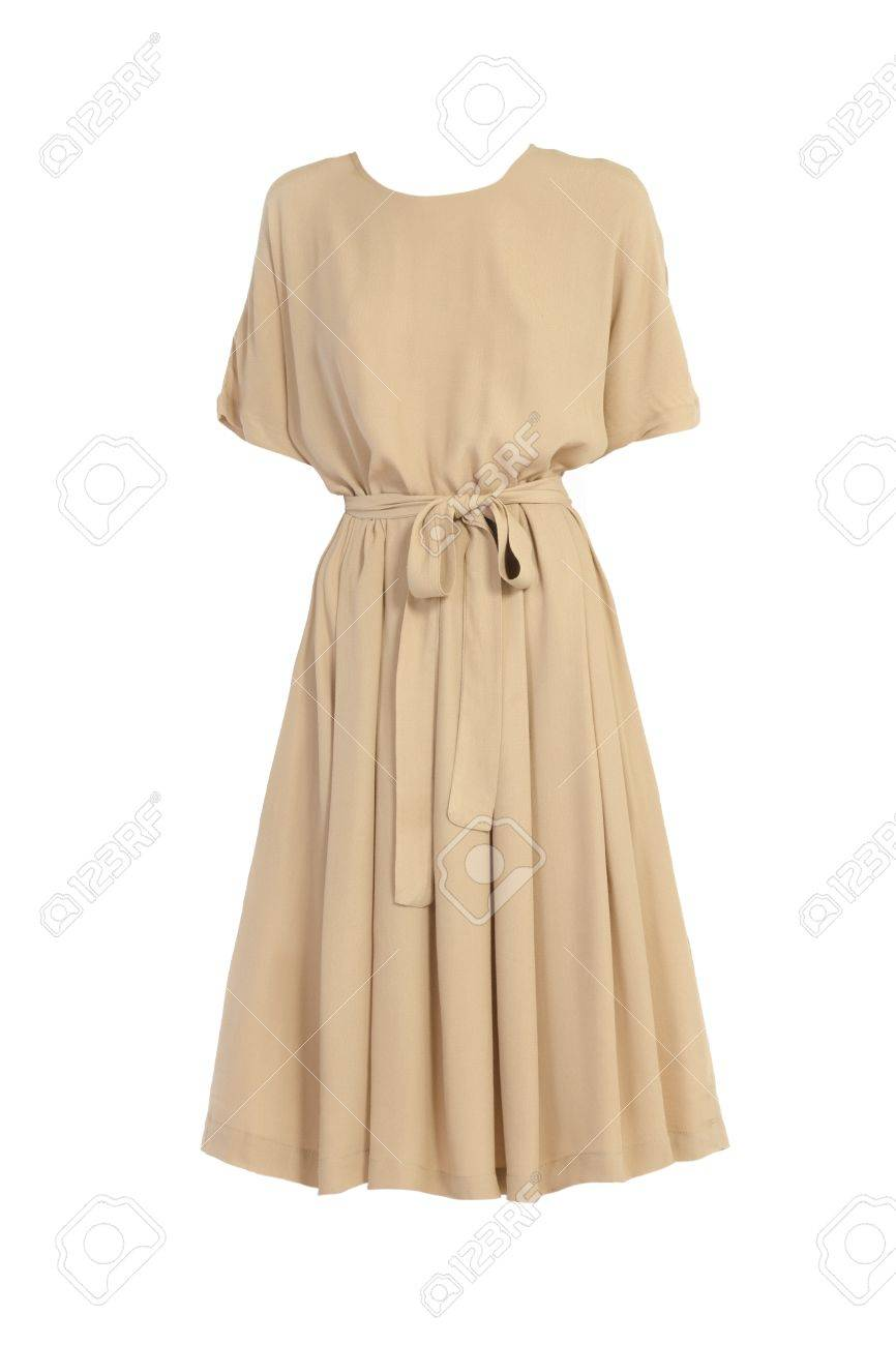 beige dress isolated on white