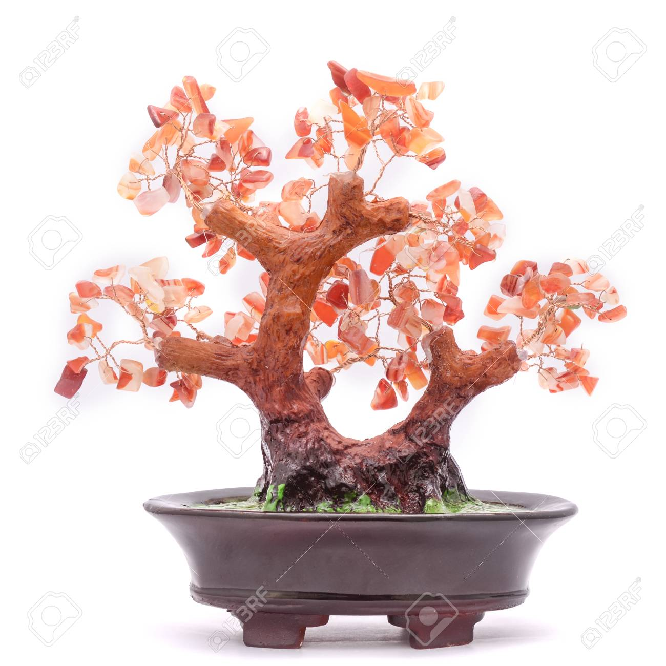 Bonsai Tree With Stones Isolated On White Stock Photo Picture And