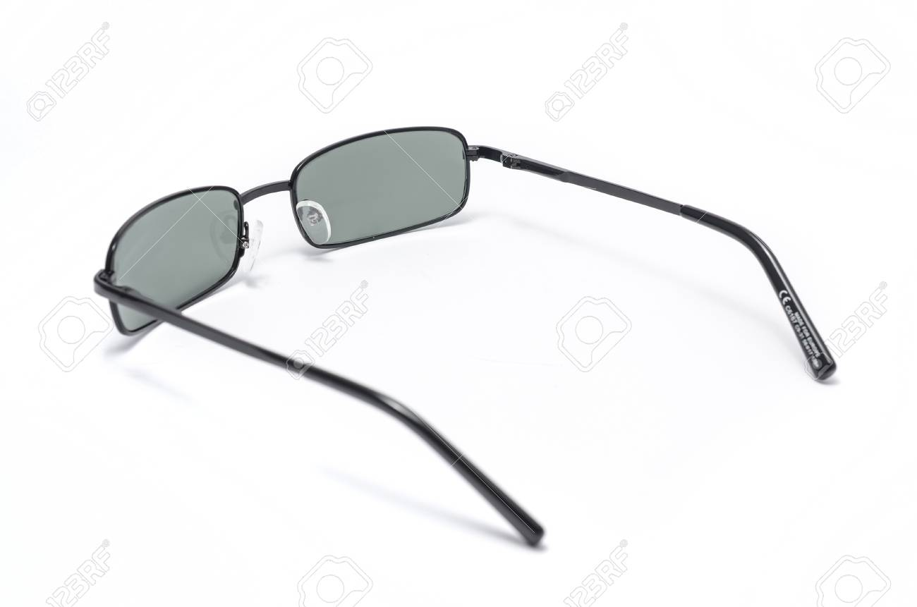 Rectangular Sunglasses In A Thin Metal Frame On A White Background ...