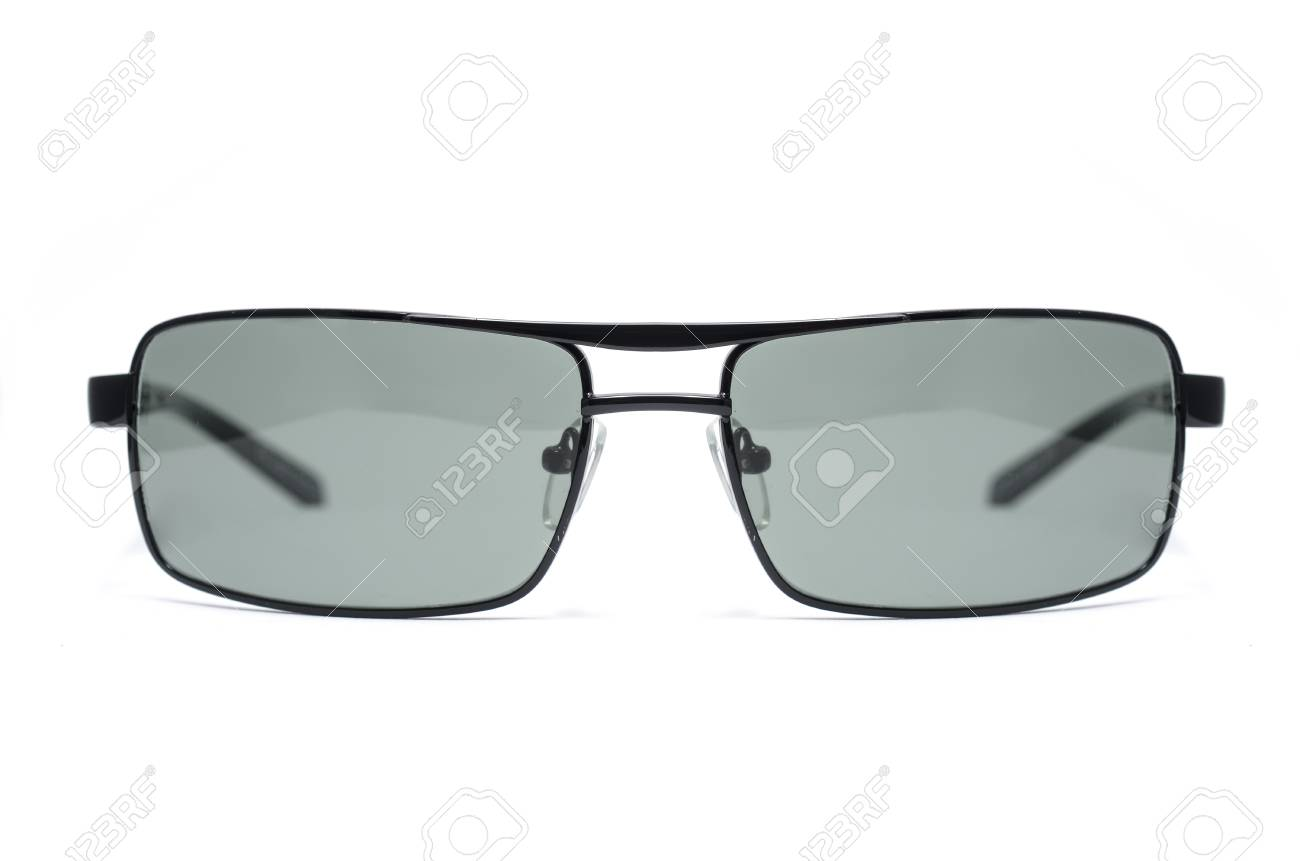 22b06ef58e Rectangular Sunglasses in a thin metal frame on a white background Stock  Photo - 74798914