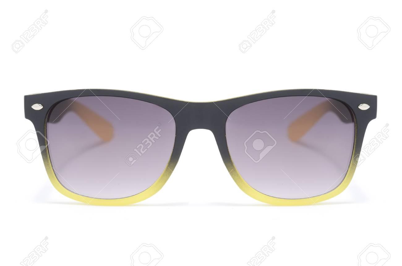 Sonnenbrille In Dicken Schwarzen Kunststoff-Rahmen Isoliert Auf Weiß ...
