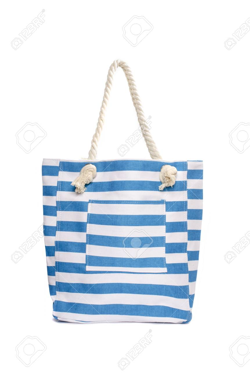 8a210b8e3 Beach Striped Handbag Isolated On White Stock Photo, Picture And ...