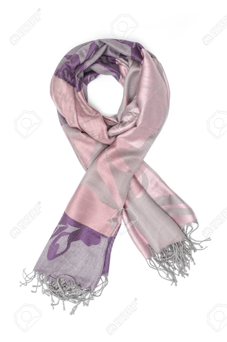 352f33229 pink and purple women's scarf with pattern isolated on white Stock Photo -  88899703