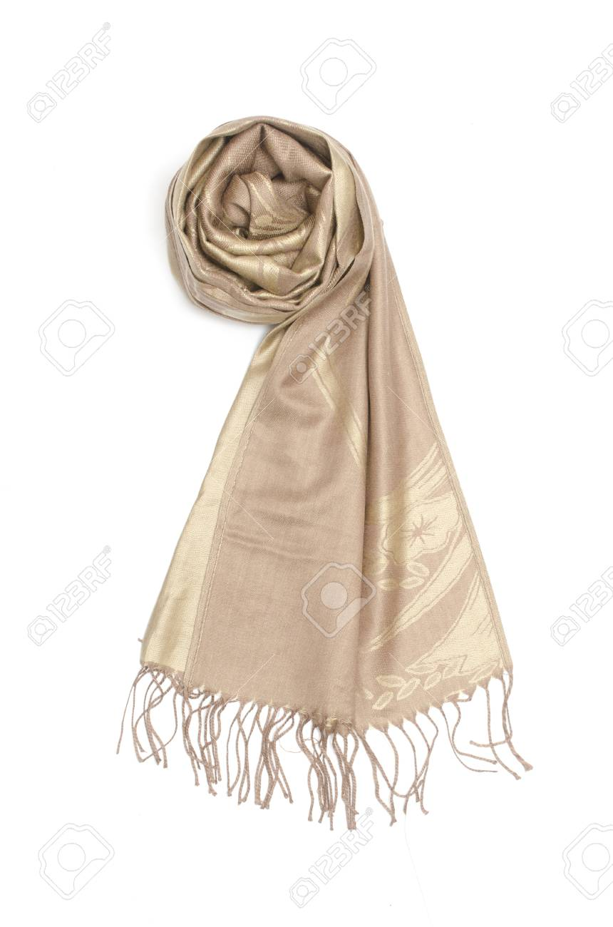 506cf1d4171 golden women s scarf isolated on white Stock Photo - 88917367