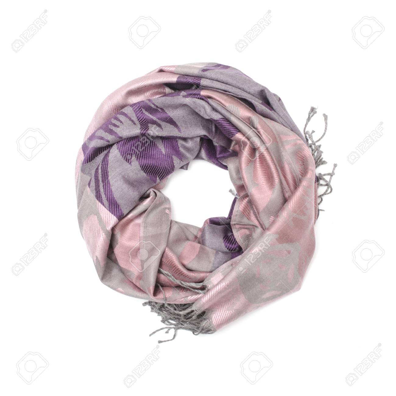 eecf0d943 pink and purple women's scarf with pattern isolated on white Stock Photo -  88917546