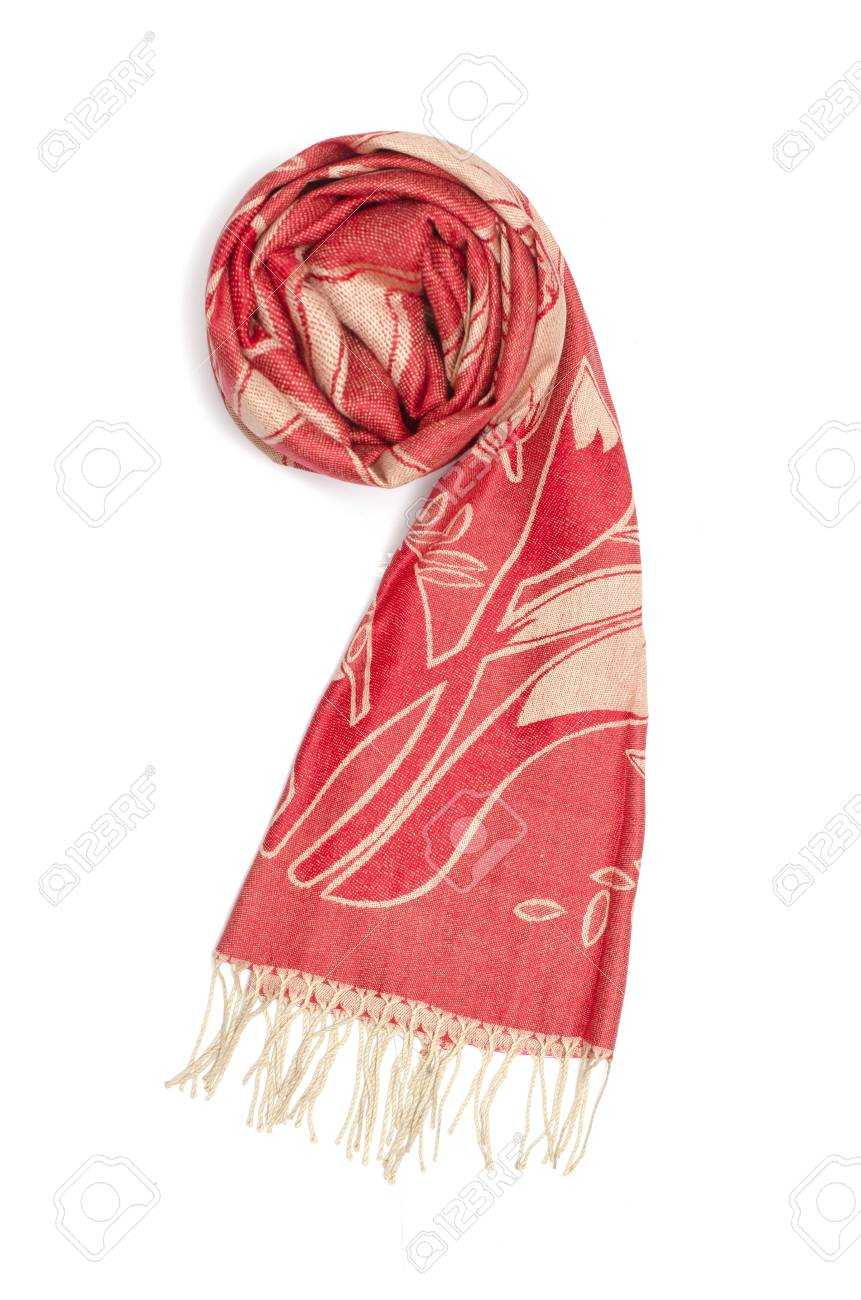 282a48cf5 red and gold women's scarf with pattern isolated on white Stock Photo -  88970155