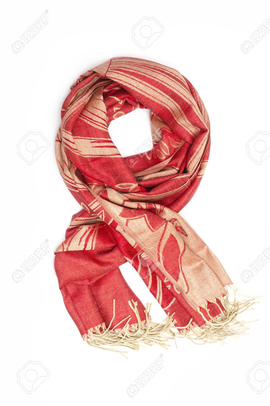 30761fd83 red and gold women's scarf with pattern isolated on white Stock Photo -  88915156