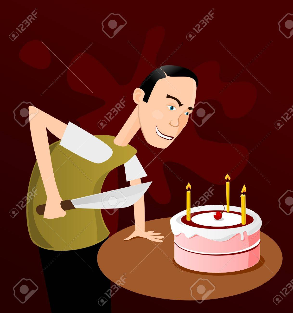 Phenomenal Man With Big Knife Ready To Cut A Cake Royalty Free Cliparts Funny Birthday Cards Online Benoljebrpdamsfinfo