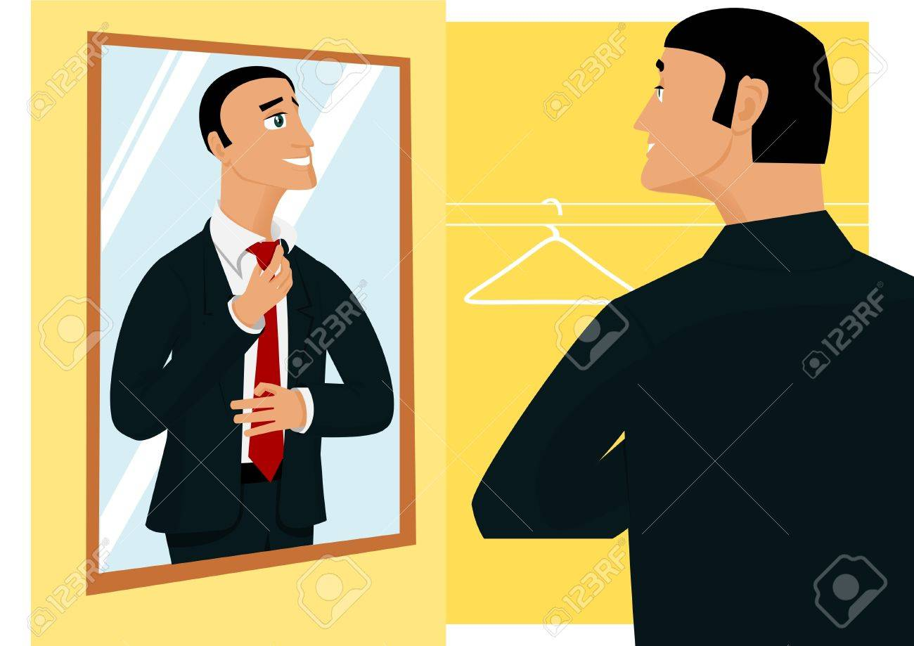 Smiling businessman prepearing for new working day in front of mirror - 11284306