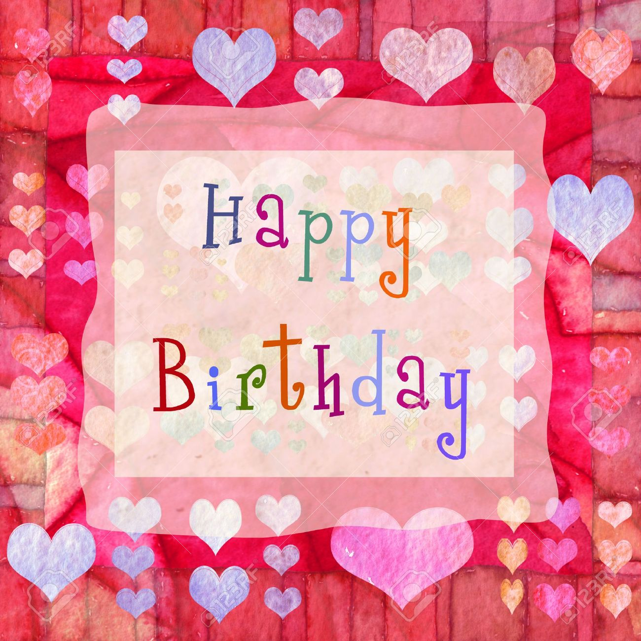 Happy Birthday Background With Hearts Stock Photo Picture And