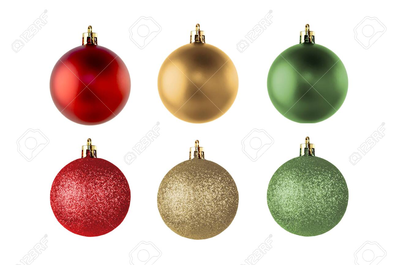 Set of colorful Christmas balls for decoration and design isolated on a white background - 137180573